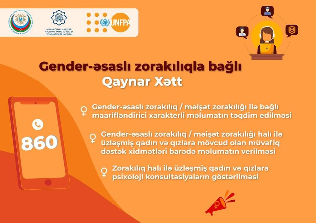 Azərbaycanda gender əsaslı zorakılıqla bağlı QAYNAR XƏTT fəaliyyətə başlayıb